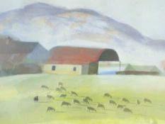 WILL ROWLANDS coloured limited edition print (16/200) - farmstead with red barn and grazing sheep,