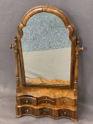 QUEEN ANNE STYLE WALNUT SERPENTINE FRONT DRESSING MIRROR - with shaped moulding on turned supports