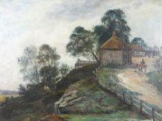 J L C DOCHERTY oil on canvas - a farm setting with landscape, 34.5 x 49.5cms