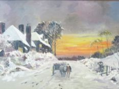 ENGLISH SCHOOL mixed media on board - snowy winter scene with horse, cart and handler on a track, 29