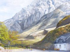 M R BOWTELL oil on board - Tryfan and Nant Ffrancon, signed, 41 x 59cms