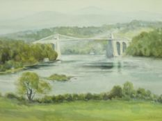 KEITH ANDREW watercolour - The Menai Straits and Suspension Bridge with mountain backdrop, signed