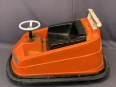 WHITTAKER BROTHERS FAIRGROUND DODGEMS CAR, mid-Century, in orange and black, 58cms H maximum,