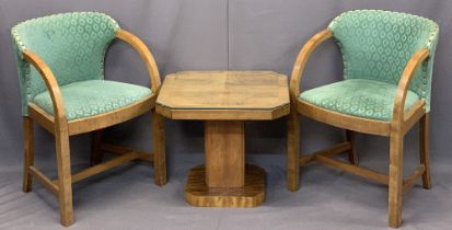 ART DECO WALNUT FURNITURE, 3 ITEMS - a pair of upholstered curved arm elbow chairs, 77cms H, 54cms