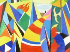 DAVID WILDE acrylic entitled - 'Bangor Boatyard with Mickey', signed, 46 x 57cms