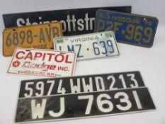 GERMAN ENAMEL STREET SIGN 'STEINROTTSTRABE', American Automobile and British Car Number Plates
