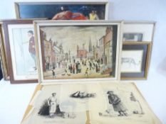 TWO LARGE PRINTS - Flamenco dancer and L S LOWRY and a parcel of other prints, KEITH ANDREW, JOEL