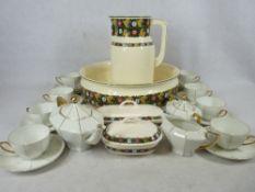 VILLEROY & BOCH 4 PIECE WASH JUG & BOWL SET with a Czechoslovakian 23 piece gilt decorated porcelain