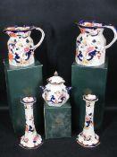 MASONS MANDALAY - candleholders, a pair, 22cms H, a graduated pair of jugs and a lidded vase