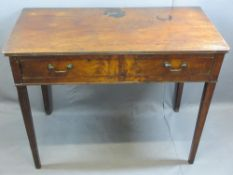 19TH CENTURY MAHOGANY SINGLE DRAWER WRITING TABLE - on tapered supports, 70cms H, 90cms W, 46cms D