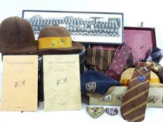 HISTORIC EPHEMERA - Oakland Public School Ilkley vintage straw, felt and other hats, school ties,