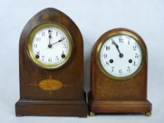 CLOCKS - Junghans dome top mantel clock, 8 day with painted dial, 28cms tall and a similar by The