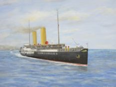 JOHN MYERS (Rhos on Sea) oil on board - Marguerite leaving Llandudno, signed and dated 2007, 35 x