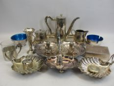 EPNS 3 PIECE COFFEE SET ON RECTANGULAR TRAY, shell shaped sweetmeat dishes, hallmarked silver bud