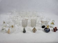 COLLECTOR'S SCENT BOTTLES (8) with a quantity of vintage and other drinking glassware