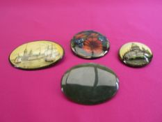 RUSSIAN BROOCHES (3) - hand painted, two city scapes, one floral and another brooch in green agate