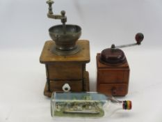 VINTAGE COFFEE GRINDERS (2) and a ship in a bottle