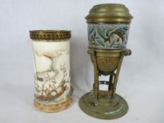 TWO 19TH CENTURY POTTERY OIL LAMP BASES - one with stylised brass base and Doulton style sgraffito