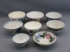 SPONGEWARE & FLORAL TYPE PEDESTAL BOWLS (8) - various sizes, some by T G Green from 12cms diameter