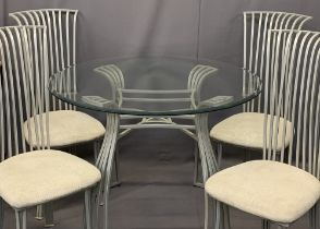 ULTRA MODERN GLASS TOP & METAL DINING TABLE & FOUR CHAIRS - 78cms H, 114cms diameter and 107cms H,