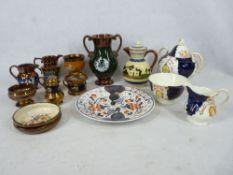 VICTORIAN COPPER LUSTRE WARE, Gaudy Welsh teaware, Devon Motto ware jug and cover, ETC