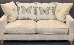 ULTRA MODERN TWO SEATER UPHOLSTERED SETTEE with butterfly detail to the fabric, 98cms H, 180cms W,