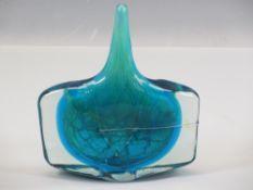 MDINA ART GLASS NARROW NECKED 'STANDING BOTTLE VASE' - 22cms H