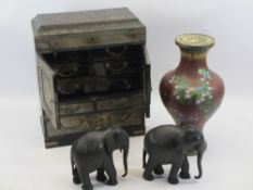 JAPANESE LACQUERWORK TABLE CABINET, 20th century Chinese cloisonne vase and a pair of carved ebony