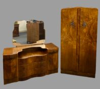 ART DECO STYLE WALNUT BEDROOM FURNITURE, 4 ITEMS to include a two door wardrobe, 72cms H, 83.5cms W,