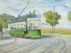 B DOYLE oil on board - a tram taking the bend at Cayley Rhos on Sea advertising Catlin Follies,