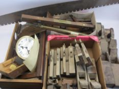 RESTORATION PROJECT WALL CLOCK, block, moulding and palm wood planes, Raybone & Sons spirit level,