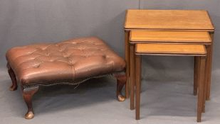 MID-CENTURY TEAK OCCASIONAL TABLES (3) and a leather effect button upholstered foot stool, 49.5cms