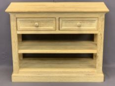 MODERN LIMED OAK TWO DRAWER, TWO SHELF SIDE STAND - with X frame side detail on a plinth base, 77cms