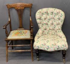 VINTAGE & LATER PARLOUR CHAIRS (2) including a curved splat back armchair with tapestry seat on