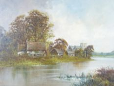 A PERRIN late 19th century oil on canvas titled verso - 'Near Maple Durham on Thames', gilt framed