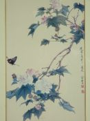 ORIENTAL SCHOOL PRINT - hibiscus and a butterfly, signed and with label verso, 'Yuchih-chen' 1959