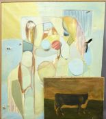 PAUL KITCHIN naive oil on canvas - a prize cow, unframed, 49 x 61cms and EDWARD HAYES abstract oil