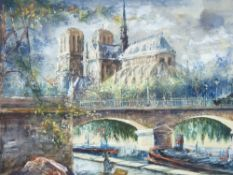 CONTINENTAL SCHOOL fine quality mixed media - scene of Notre Dame Cathedral, Paris with bridge and