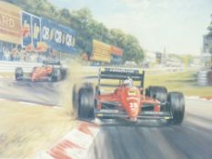 ALAN FEARNLEY limited edition (563/850) print - titled 'Tribute to Enzo Ferrari', signatures in