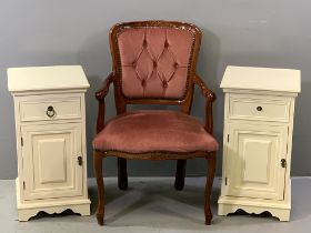 BEDSIDE CABINETS - a modern pair, cream coloured, 65cms H, 35cms W, 35cms D and a French style