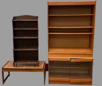 FURNITURE ASSORTMENT - teak effect bookcase cabinet, 180cms H, 94cms W, 41cms D, waterfall five