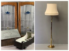 MODERN BRASS STANDARD LAMP with large cream coloured shade, antique wooden doll's cot, beaten