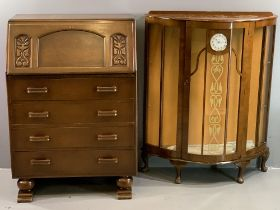 VINTAGE FURNITURE - Art Deco style china cabinet with Smiths clock to the front panel and a carved