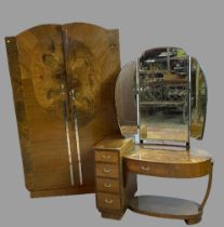 ART DECO STYLE BEDROOM FURNITURE - walnut effect, two door wardrobe, 192cms H, 119cms W, 48cms D and