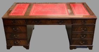 REPRODUCTION DESK - large example with three section red tooled leather effect surface, twin