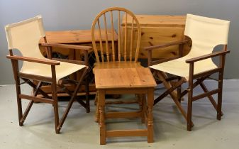 FURNITURE ASSORTMENT - modern pine gate leg table, two door cupboard, square topped occasional table