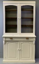 CWPWRDD GWYDR - painted white with twin upper glazed doors, single drawer and fielded panelled