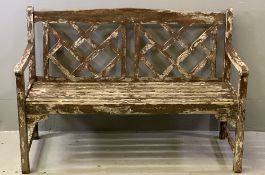 WOODEN GARDEN BENCH with lattice style back, 83cms H, 123cms W, 54cms D