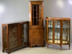 REPRODUCTION MAHOGANY DISPLAY CABINET - with two astragal glazed doors on bracket feet, 104cms H,