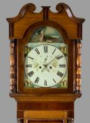 19th CENTURY OAK & MAHOGANY LONGCASE CLOCK by Williams of Bangor, painted arched top dial with
